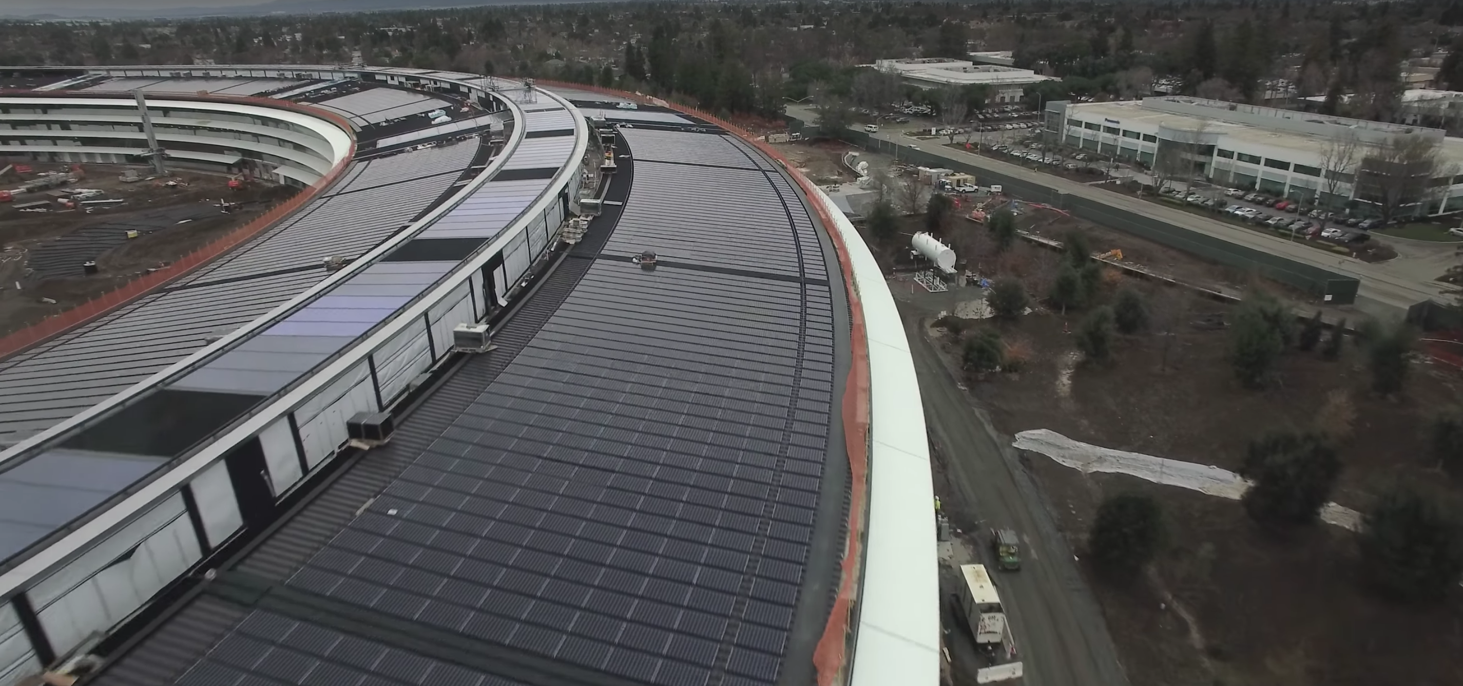 Solar panels have been installed on the roof.  Apple Campus 2 is expected to be 100 percent powered by renewable energy.