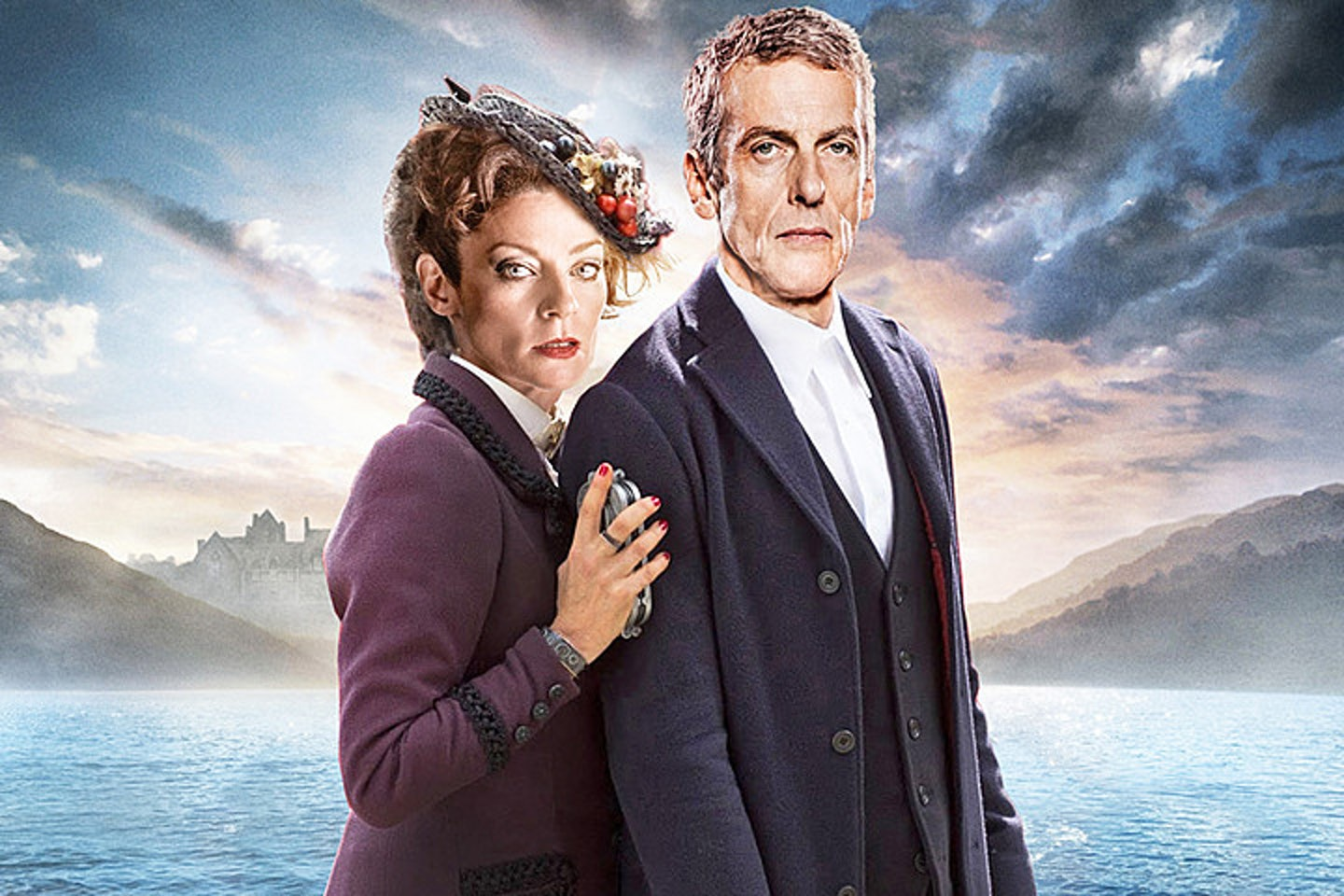 "Michelle Gomez as the incumbent Master: ""Missy"" with Peter Capaldi as the Doctor."