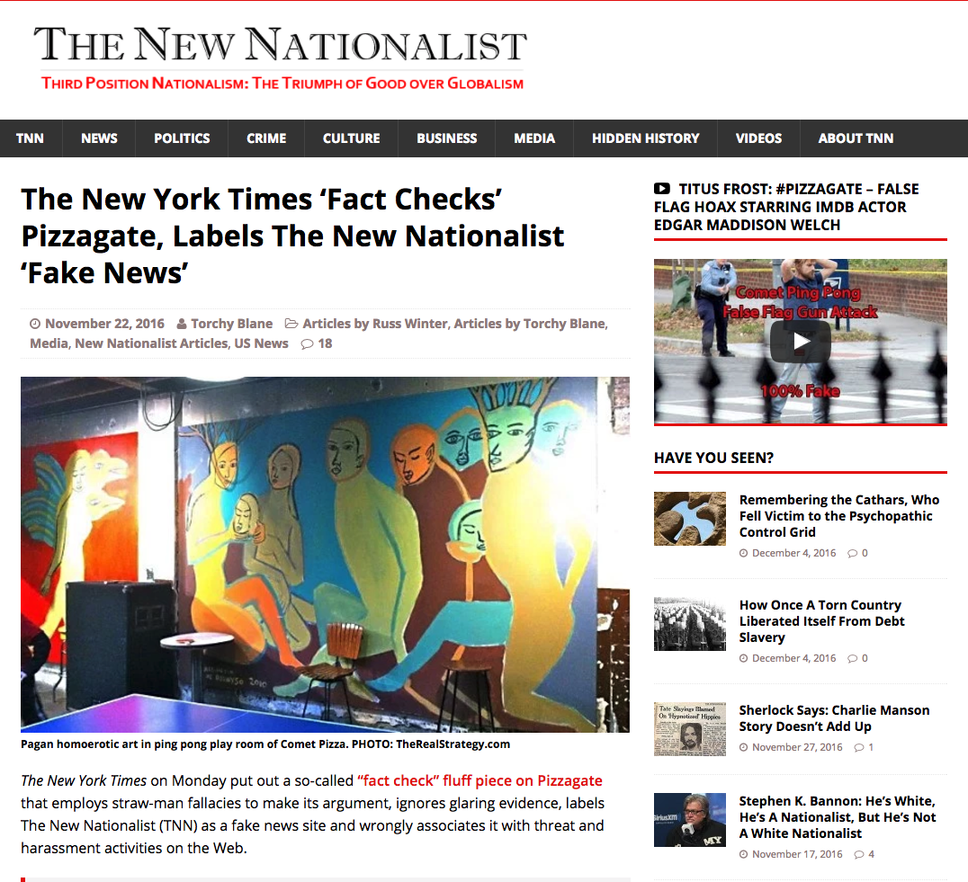 """THIS IS FAKE NEWS. Screenshot of the New Nationalist's article on """"pizzagate."""""""