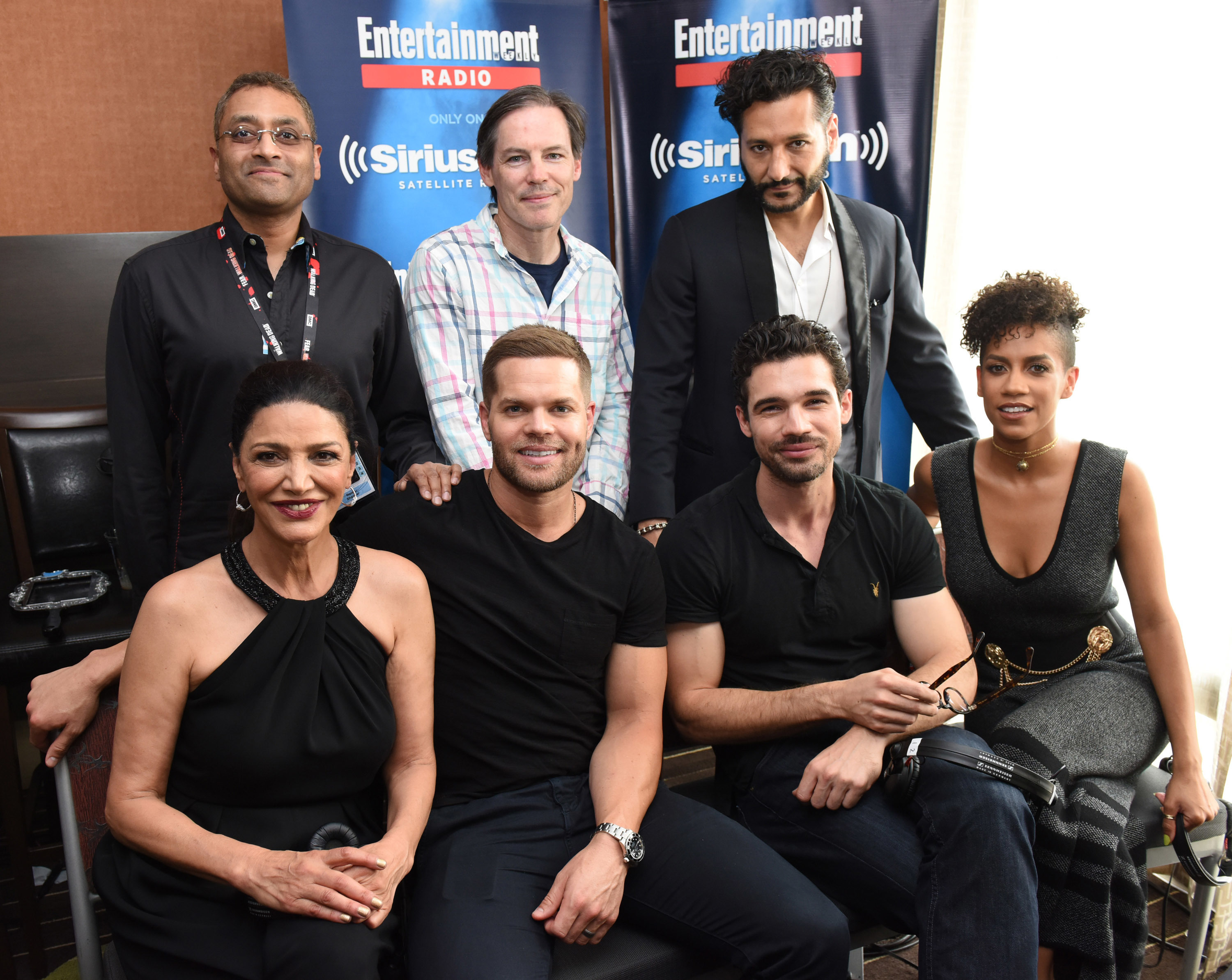 SAN DIEGO, CA - JULY 23:  Producers Naren Shankar and Mark Fergus with 'Expanse' actors Cas Anvar, Shohreh Aghdashloo, Wes Chatham, Steven Strait and Dominique Tipper.