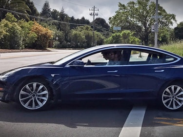 Tesla Model 3 Prototype Spotted in Blue, and It Looks Gorgeous