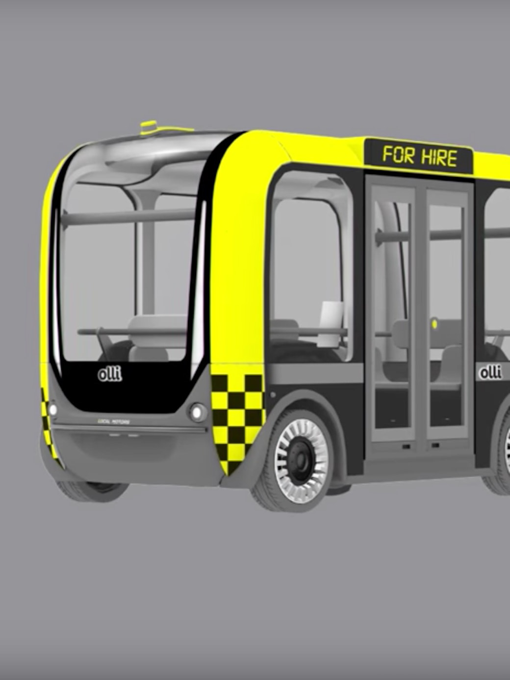 Local Motors' self-driving bus, Olli, on the streets.