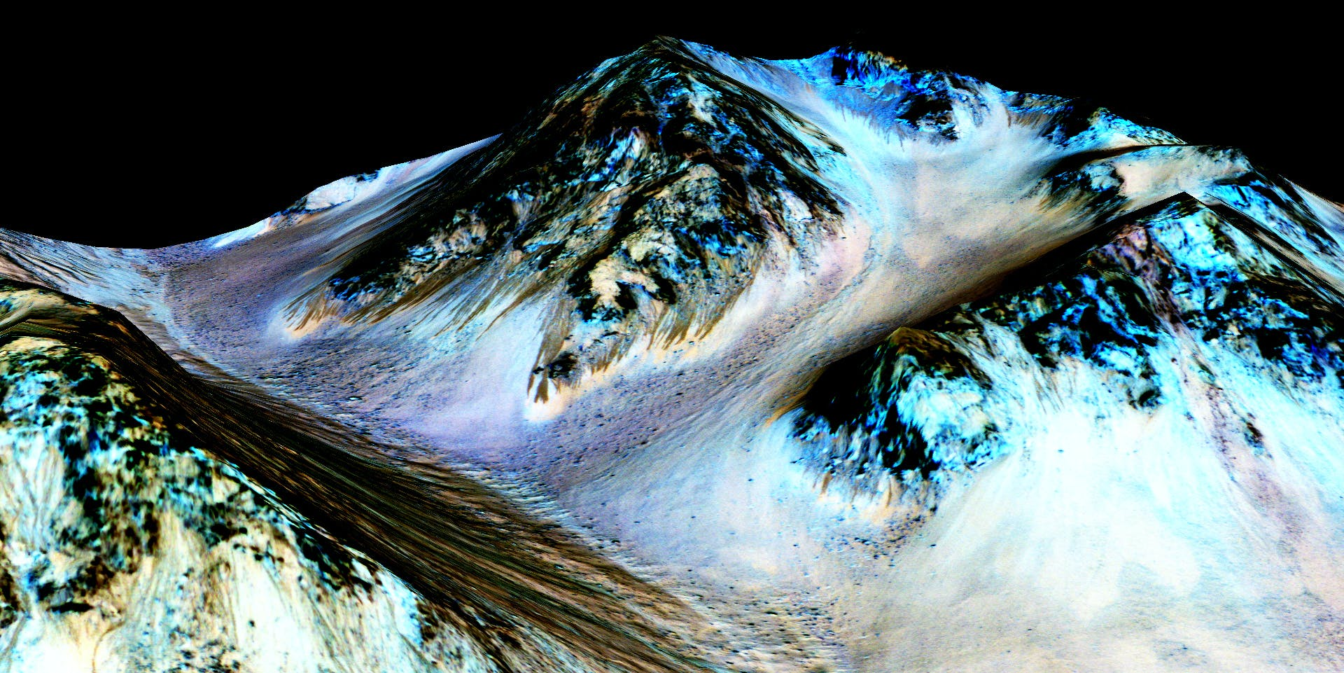 HALE CRATER, MARS - UNSPECIFIED DATE: In this handout provided by NASA's Mars Reconnaissance Orbiter, dark, narrow streaks on the slopes of Hale Crater are inferred to be formed by seasonal flow of water on surface of present-day Mars. These dark features on the slopes are called 'recurring slope lineae' or RSL. Scientists reported on September 28, 2015 using observations with the Compact Reconnaissance Imaging Spectrometer on the same orbiter detected hydrated salts on these slopes at Hale Crater, corroborating the hypothesis that the streaks are formed by briny liquid water. (Photo by NASA/JPL-Caltech/Univ. of Arizona via Getty Images)