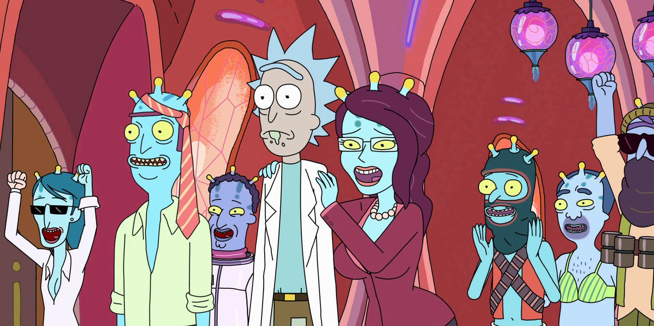 Rick with his frequent lover, Unity the hive mind.