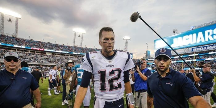 p.p1 {margin: 0.0px 0.0px 0.0px 0.0px; font: 18.0px Georgia}    New England Patriots quarterback Tom Brady (12) walks off the field after the game between the New England Patriots and the Jacksonville Jaguars on September 16, 2018 at TIAA Bank Field in Jacksonville, Fl.