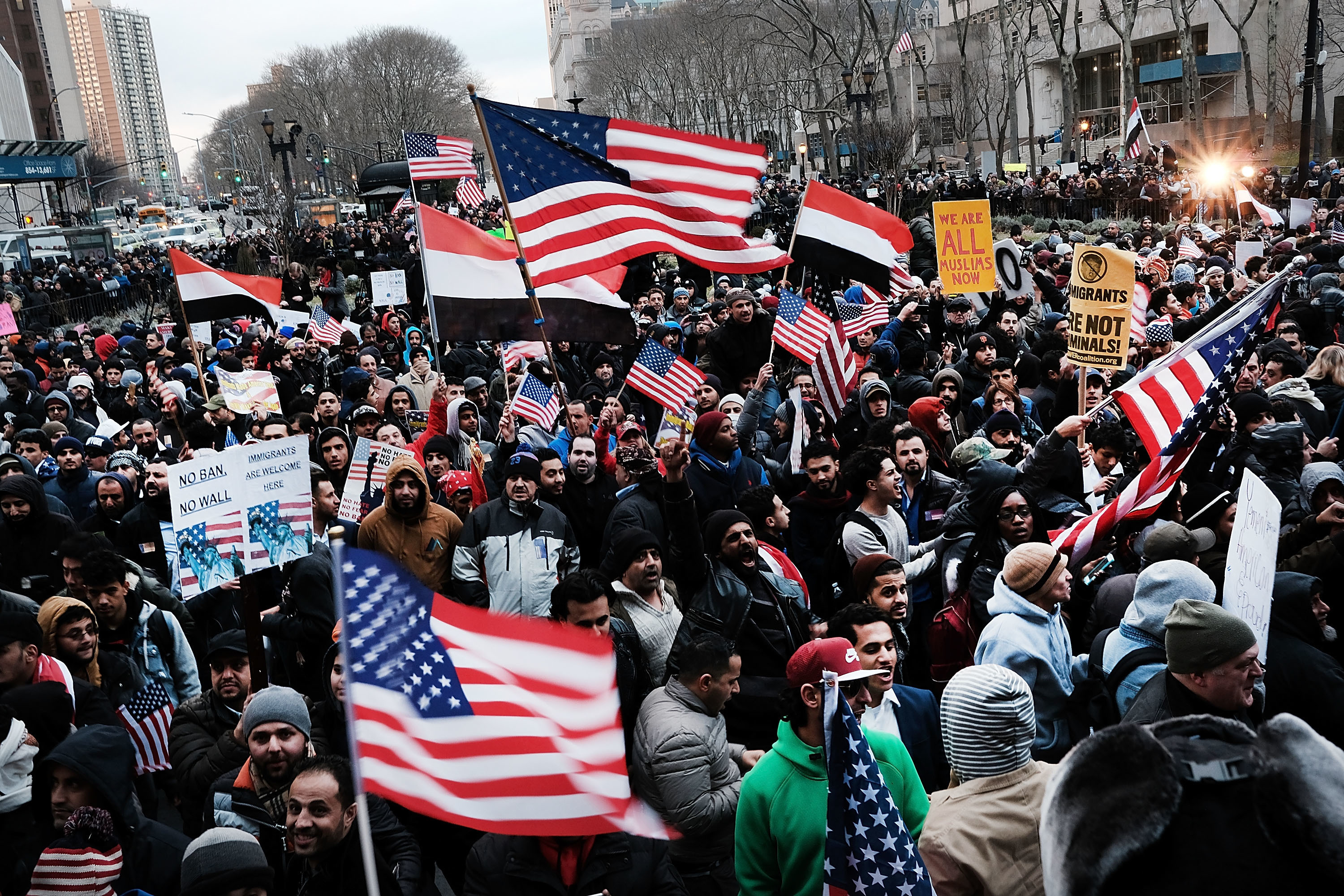 Ethnic Yemenis and supporters protest this week in New York City against President Donald Trump's executive order temporarily banning immigrants and refugees from seven Muslim-majority countries.