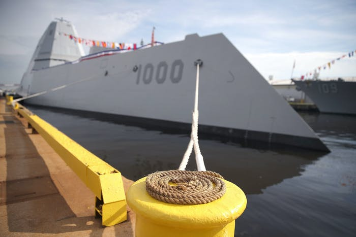The Navy's new guided missile destroyer DDG 1000 USS Zumwalt is moored to a dock on October 13, 2016 in Baltimore.