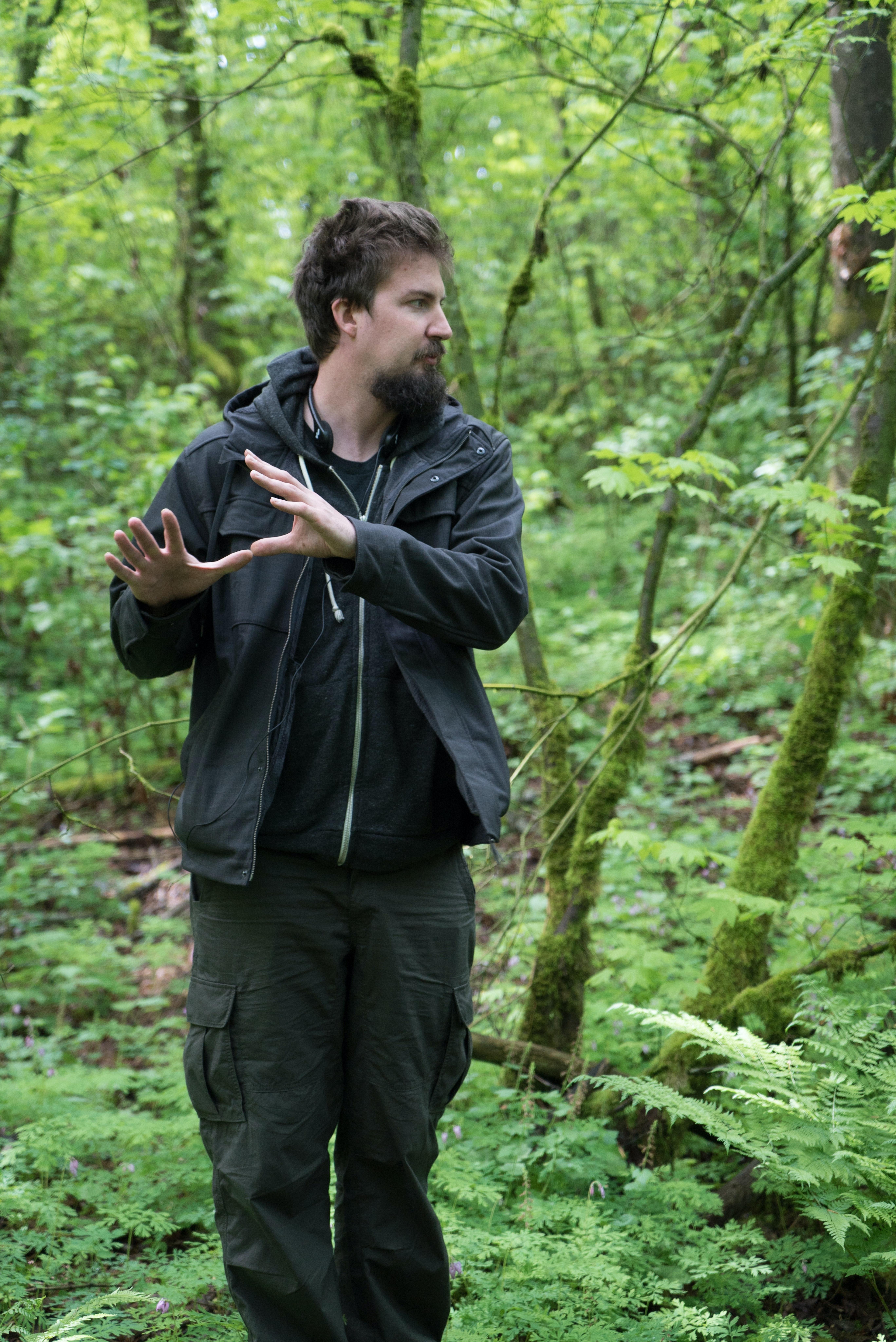 Adam Wingard, on set of 'Blair Witch.'