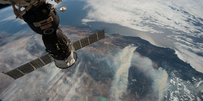 An image from the International Space Station captures plumes of smoke from California wildfires on August 4, 2018.