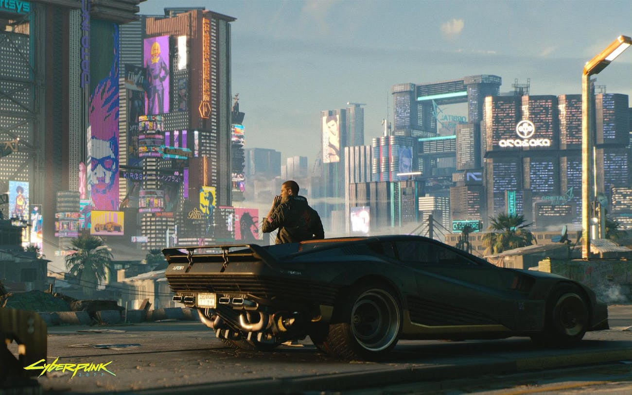 The protagonist V gets a cool car in 'Cyberpunk 2077'.