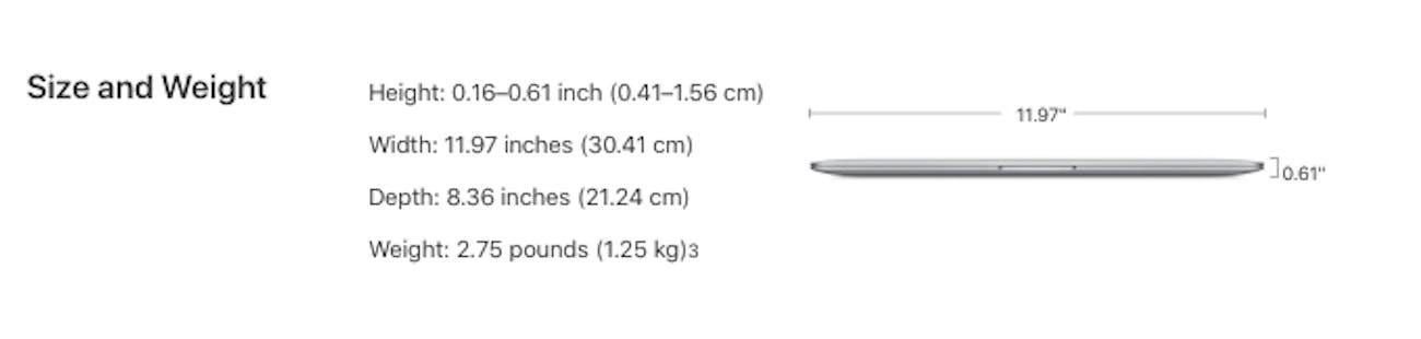 macbook air dimensions 2018