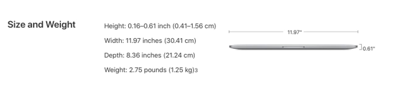 macbook air dimensions 2018