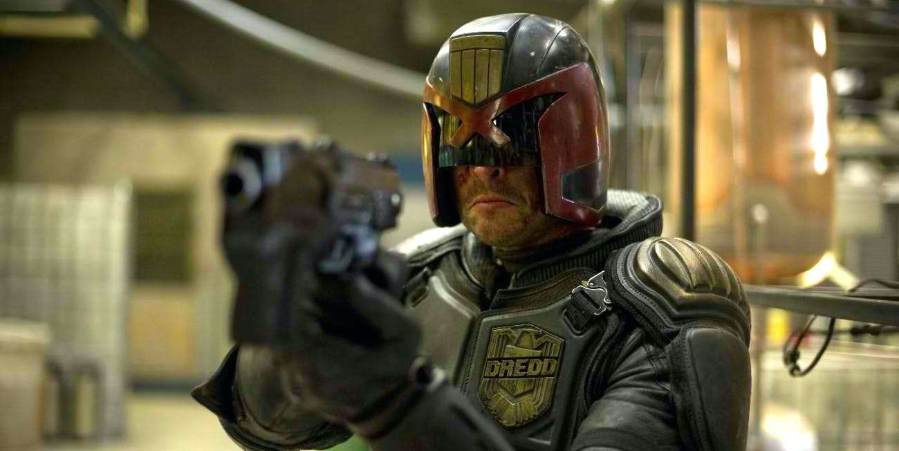 Karl Urban as Judge Dredd in 'Dredd'.