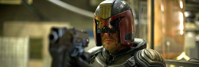 Karl Urban as Judge Dredd in 'Dredd'.