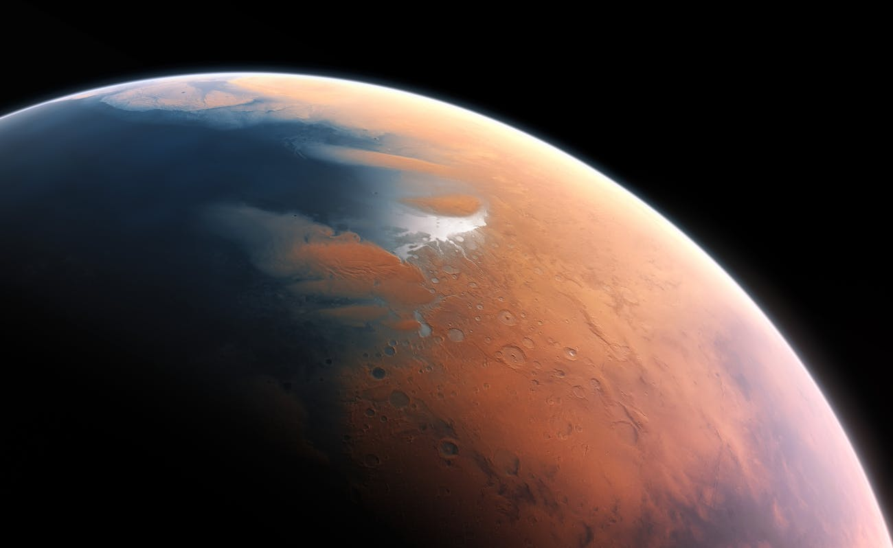 Artist impression of a wet Mars from 4 billion years ago.
