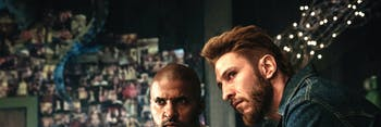 Ricky Whittle as Shadow Moon and Pablo Schreiber as Mad Sweeney in 'American Gods'