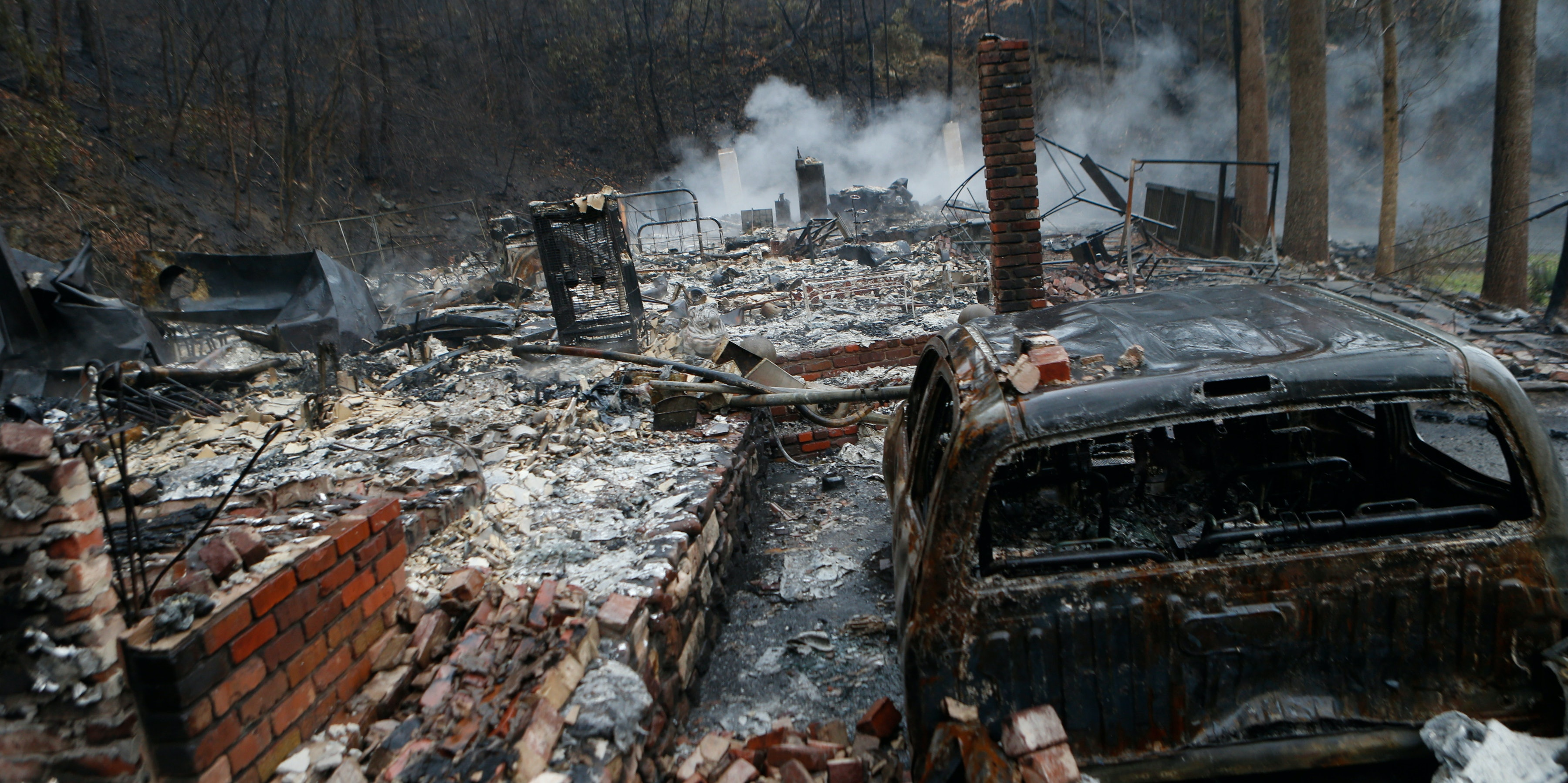A home destroyed by the wildfire that swept through Gatlinburg, Tennessee.
