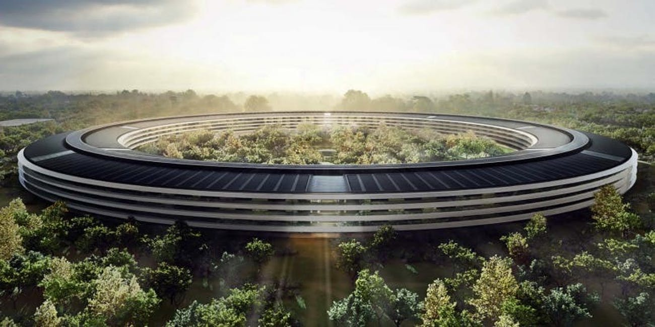 An art representation of Apple's new 'spaceship' headquarters.