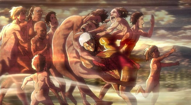Reiner's Armored Titan charges a group of mindless Titans with Ymir on his back in a desperate act of self-preservation.