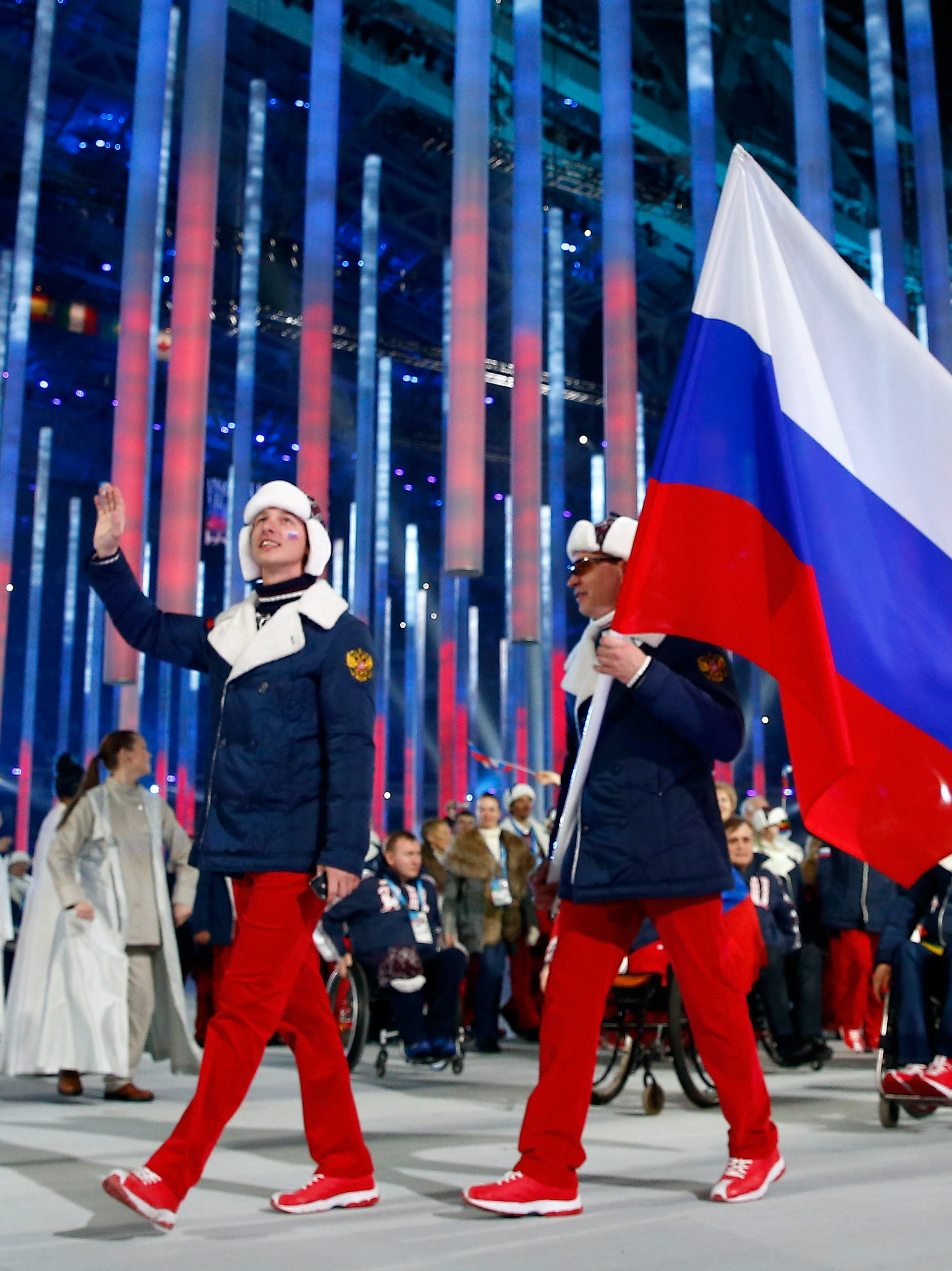 SOCHI, RUSSIA - MARCH 07:  The Russian Federation team enter the stadium during the Opening Ceremony of the Sochi 2014 Paralympic Winter Games at Fisht Olympic Stadium on March 7, 2014 in Sochi, Russia.  (Photo by Tom Pennington/Getty Images)