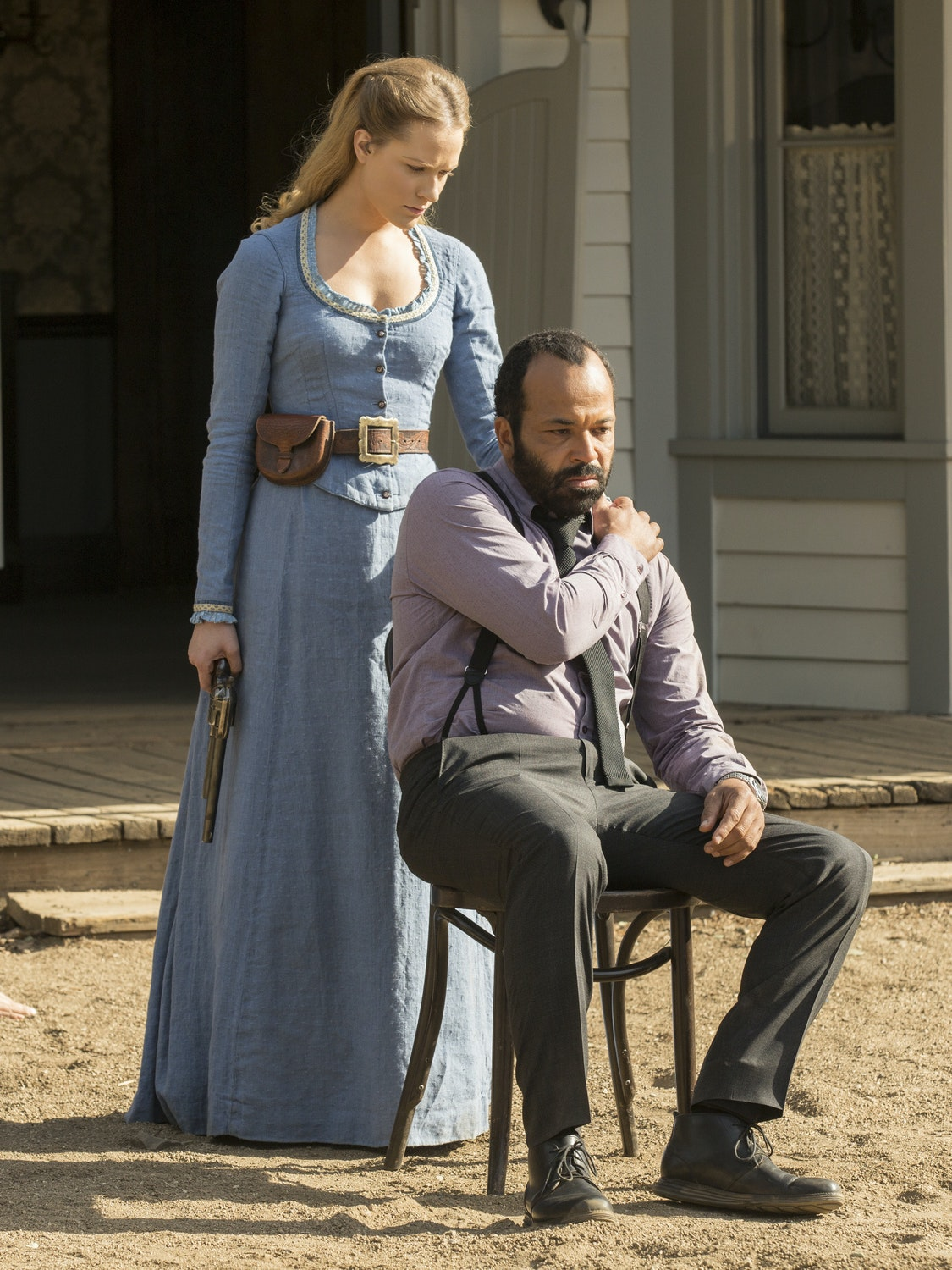Evan Rachel Wood and Jeffrey Wright on Westworld