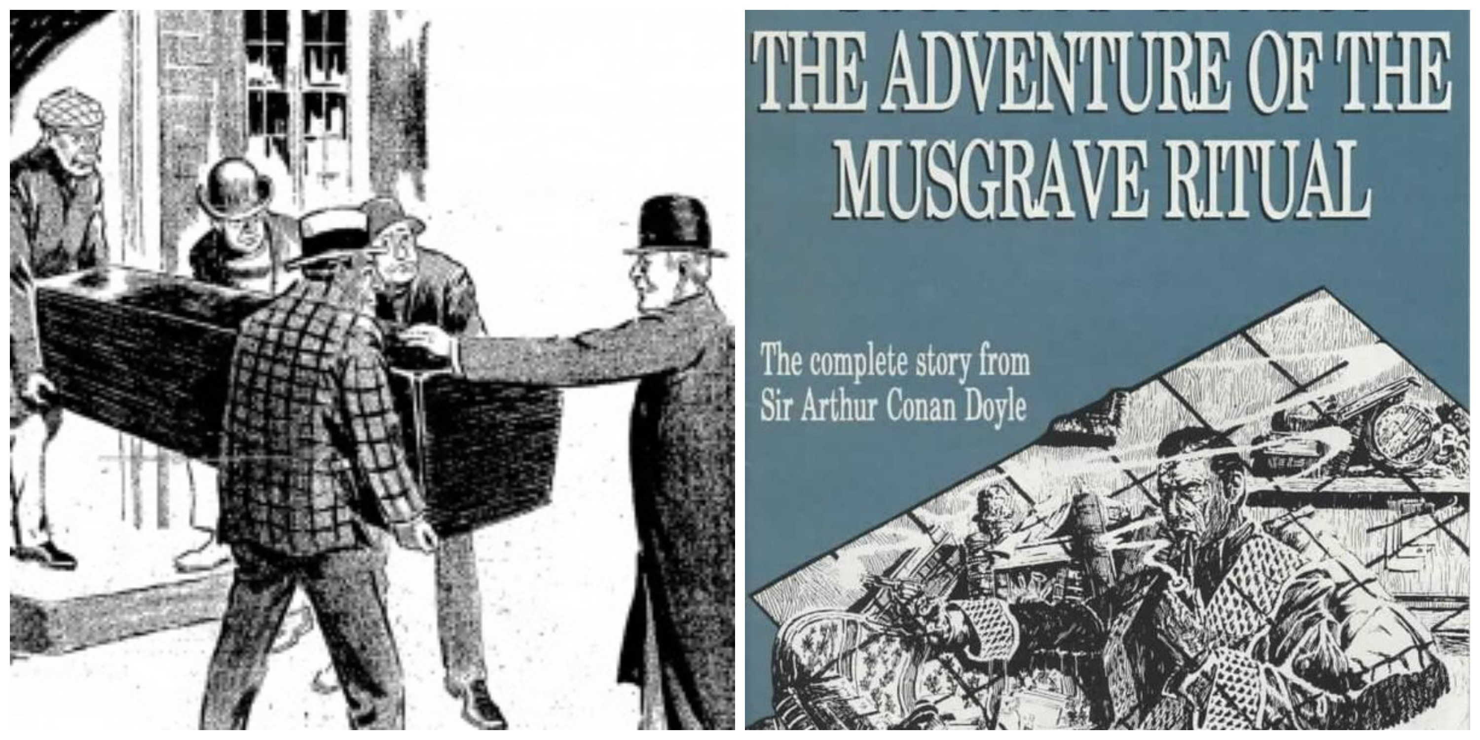 "LEFT: The coffin from ""The Disappearance of Lady Frances Carfax."" RIGHT: ""The Musgrave Ritual."""