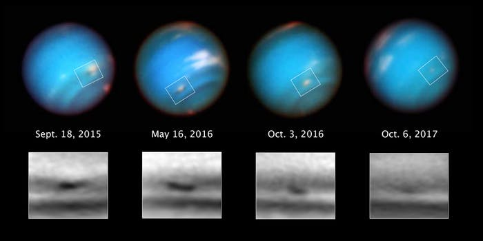 This series of Hubble Space Telescope images taken over two years tracks the demise of a giant dark vortex on the planet Neptune. The oval-shaped spot has shrunk from 3,100 miles across its long axis to 2,300 miles across, over the Hubble observation period.
