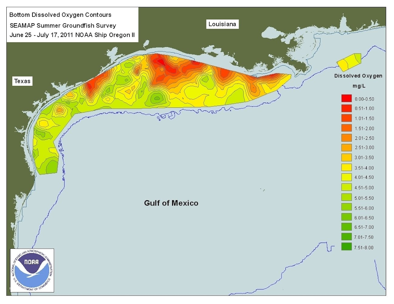 NOAA map shows dissolved oxygen content off the coasts of Louisiana and Texas in the summer of 2011.