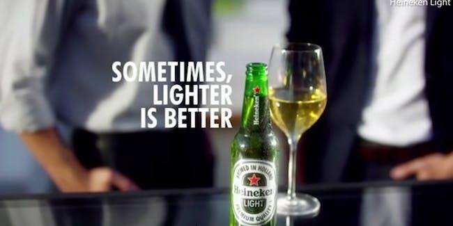 Heineken Sometimes Lighter is Better