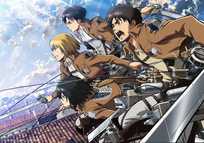 In 'Attack on Titan,' human soldiers use vertical maneuvering equipment to swing around and attack Titans.