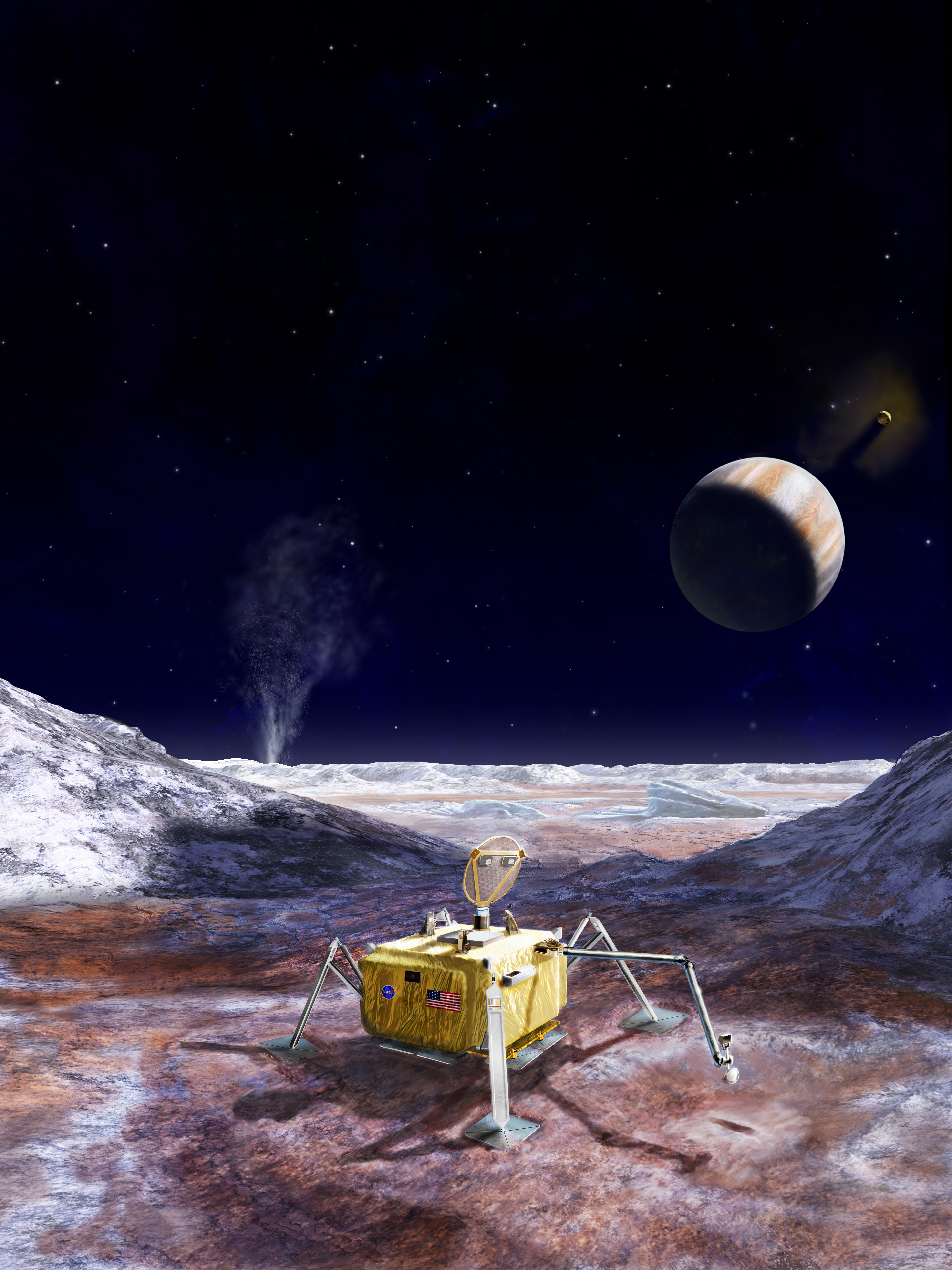 An artist's rendering shows the design for a possible future landing mission to Europa. The lander features a sampling arm to collect samples from the moon's surface.