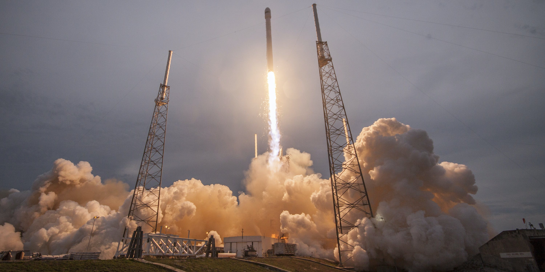 SpaceX's Falcon 9 rocket lifts off with Thales Alenia Space's TurkmenÄlem52E/MonacoSat satellite to a geosynchronous transfer orbit