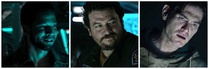 From left to right: Jussie Smollett, Danny McBride, and Billy Crudup in 'Alien: Covenant'
