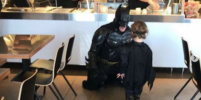 Bruce Wayne celebrates his 500th Chipotle order