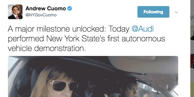 Twitter is Roasting NY Governor Andrew Cuomo for a self-driving car tweet.