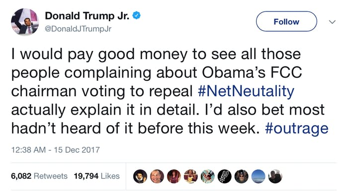 Trump Jr's tweet.