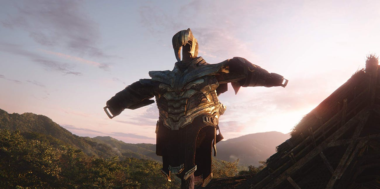 A Thanos scarecrow from the end of 'Avengers: Infinity War' (2018)