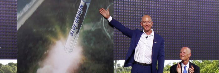 Blue Origin is Jeff Bezos's spaceflight company which competes with SpaceX and NASA and ULA for getting things into space.