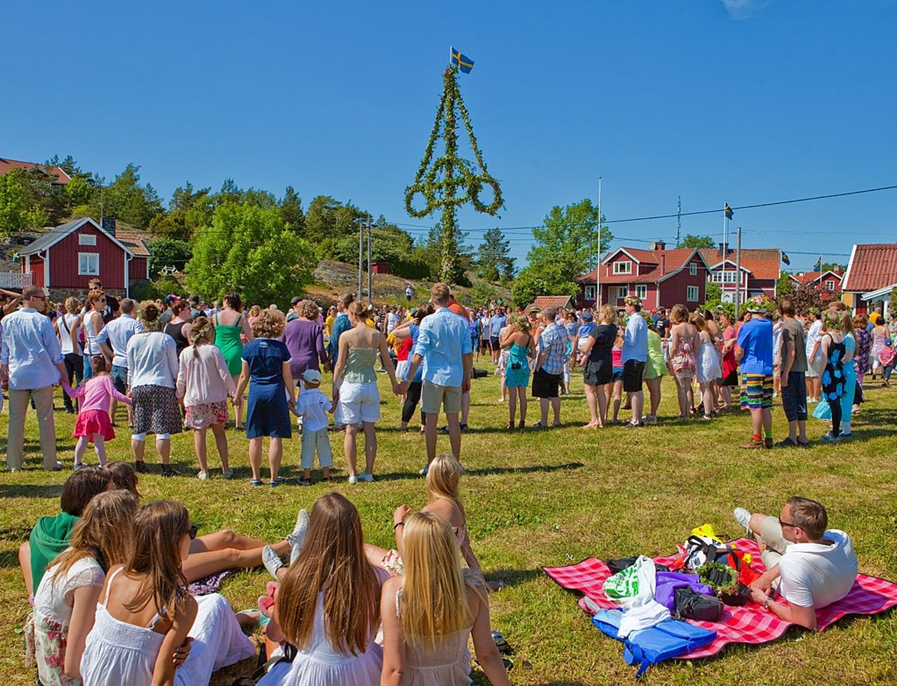 Swedes celebrating actual midsommar.