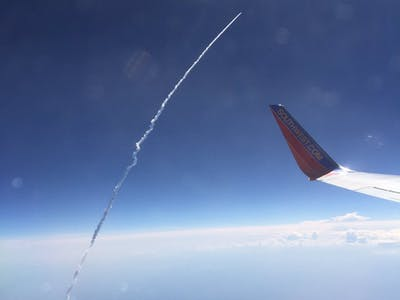 "Airplane Passenger Says He ""Looked Out the Window and Took Picture"" of Rocket Launch"
