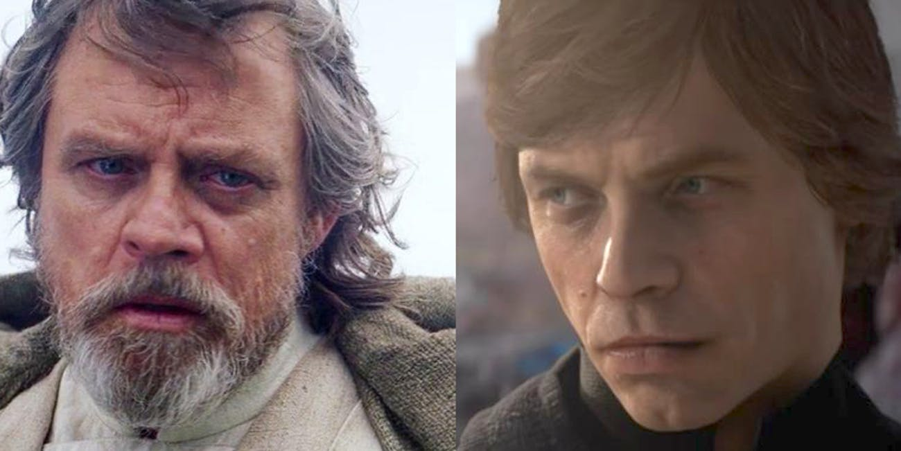Luke Skywalker at the end of 'The Force Awakens' and during 'Battlefront II.'