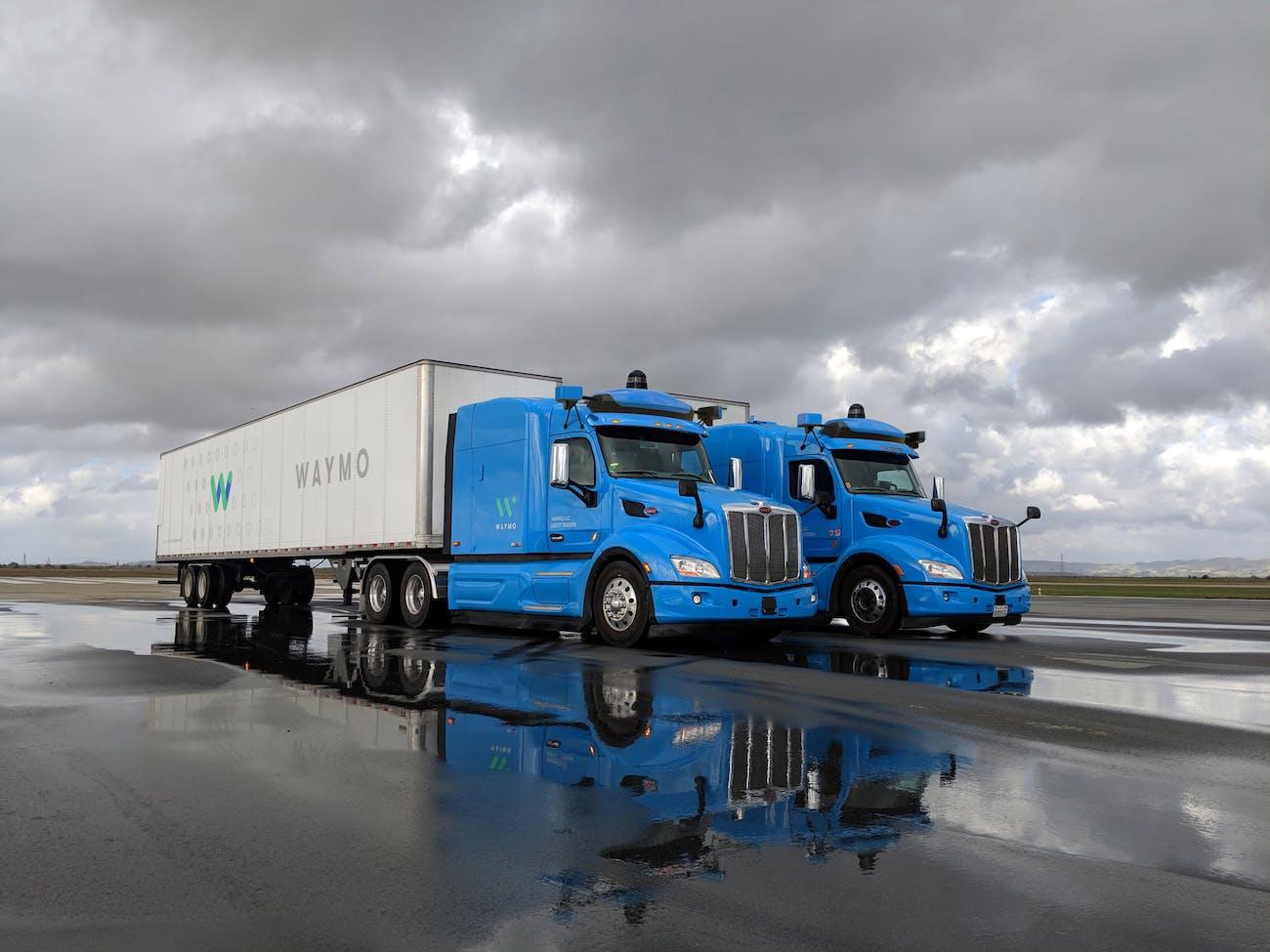 Waymo's autonomous trucks on the road.