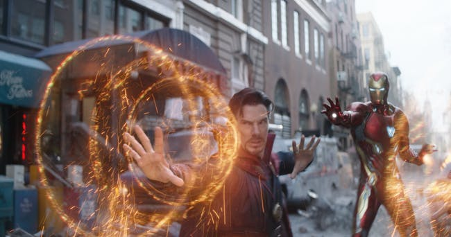 Tony Stark uses a new Iron Man suit in a new Battle of New York during 'Infinity War'.