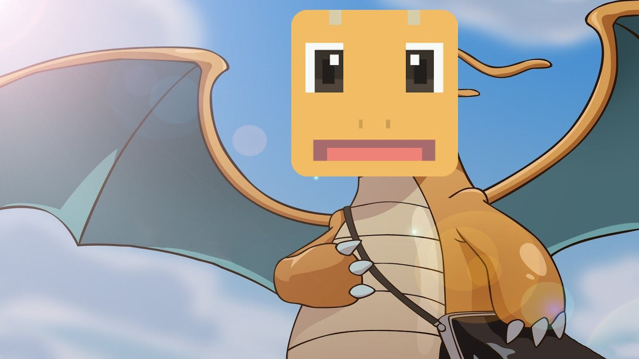 Dragonite from the Pokémon anime with a 'Pokémon Quest' face.