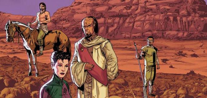 'Star Trek: Deviations' from IDW comics. (Note: shirtless Riker on the far left) Art by Josh Hood