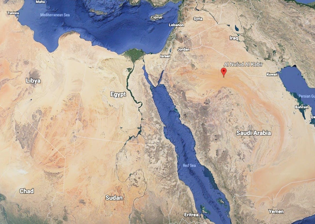 nufud desert saudi arabia map