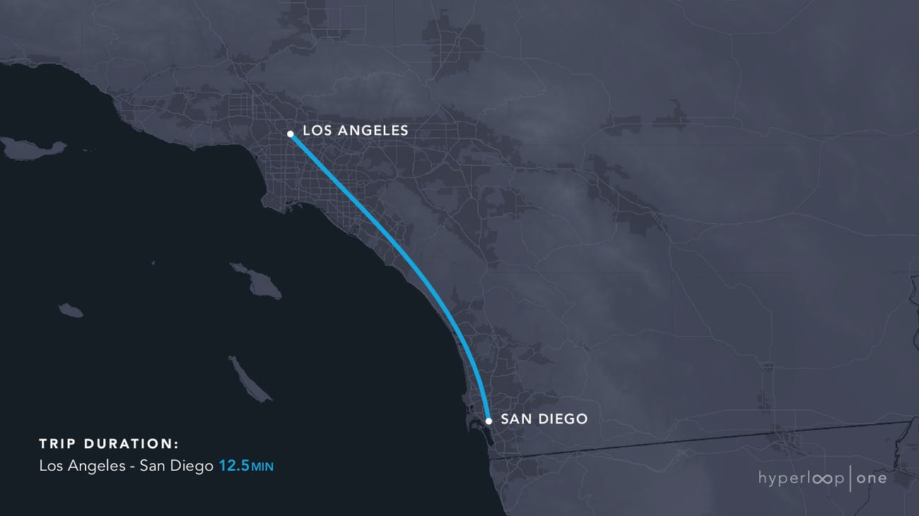 The route stretches from Los Angeles to San Diego.