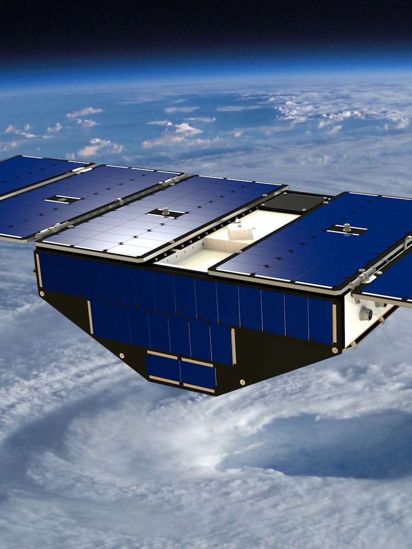 A CYGNSS small satellite doing its thing, protecting you from hurricanes that want to kill you.