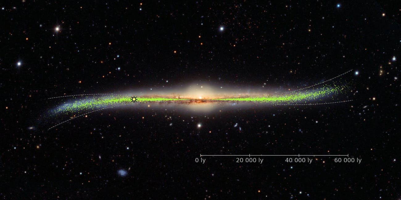 Warped galaxy with the distribution of the young stars (Cepheids) in the disk as infered from the Galactic Cepheids distribution