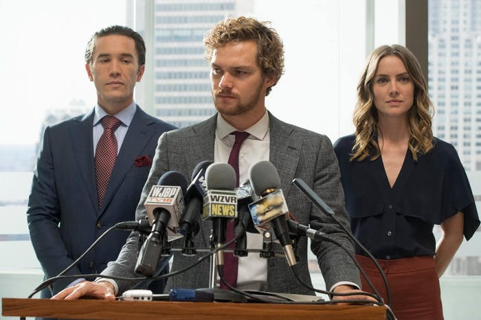 Tom Pelphrey, Finn Jones, and Jessica Stroup in 'Marvel's Iron Fist'